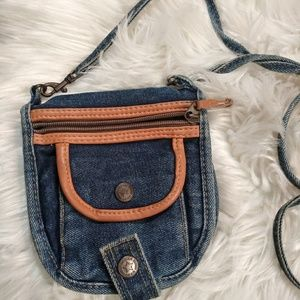 Urban gear denim/ tan crossbody mini wallet purse